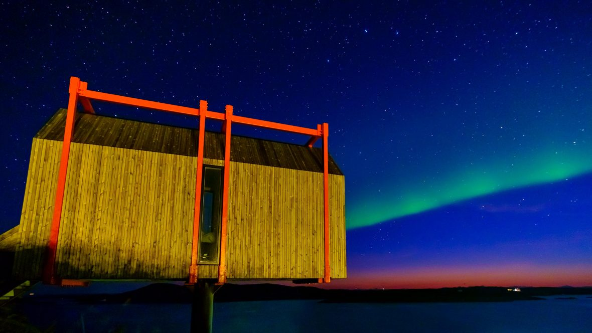 The northern lights as seen from The Arctic Hideaway in the archipelago of Fleinvaer.