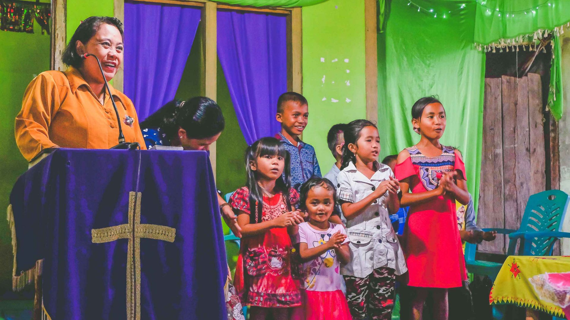 A church ceremony in the Catholic village of Bancea in Indonesia.