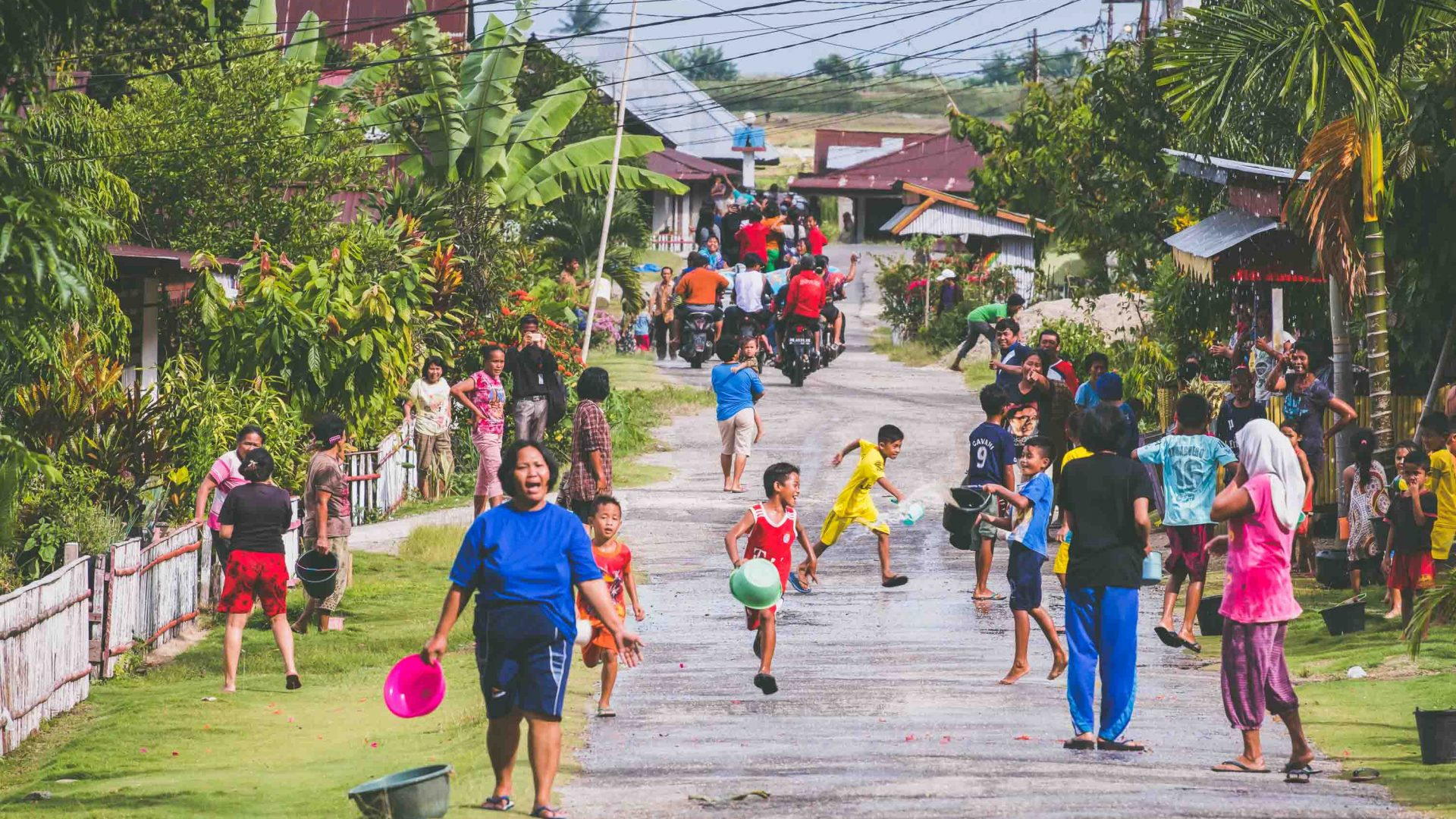 The village of Bancea in Indonesia, awash with color.
