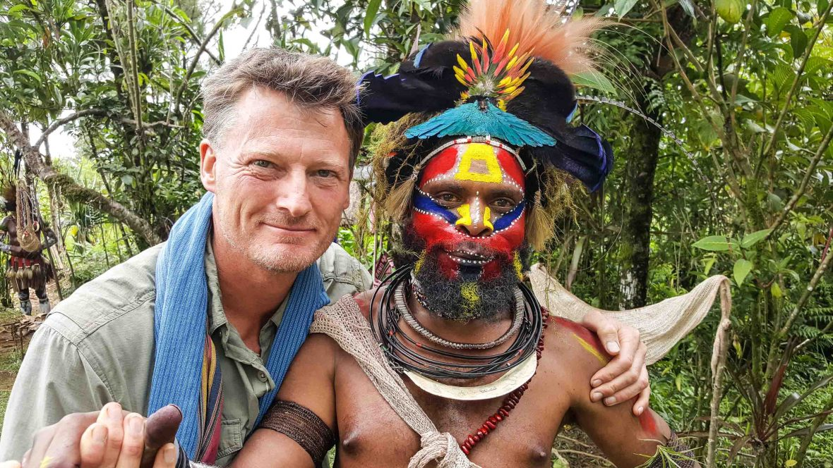 Benedict and Howard who he met on a previous trip to Papua New Guinea.