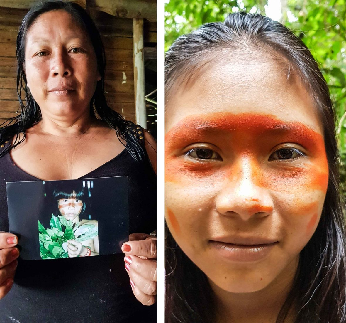 Lucy and her child. Lucy herself was only a child herself 25 years ago when Benedict stayed with their family in the Peruvian Amazon.