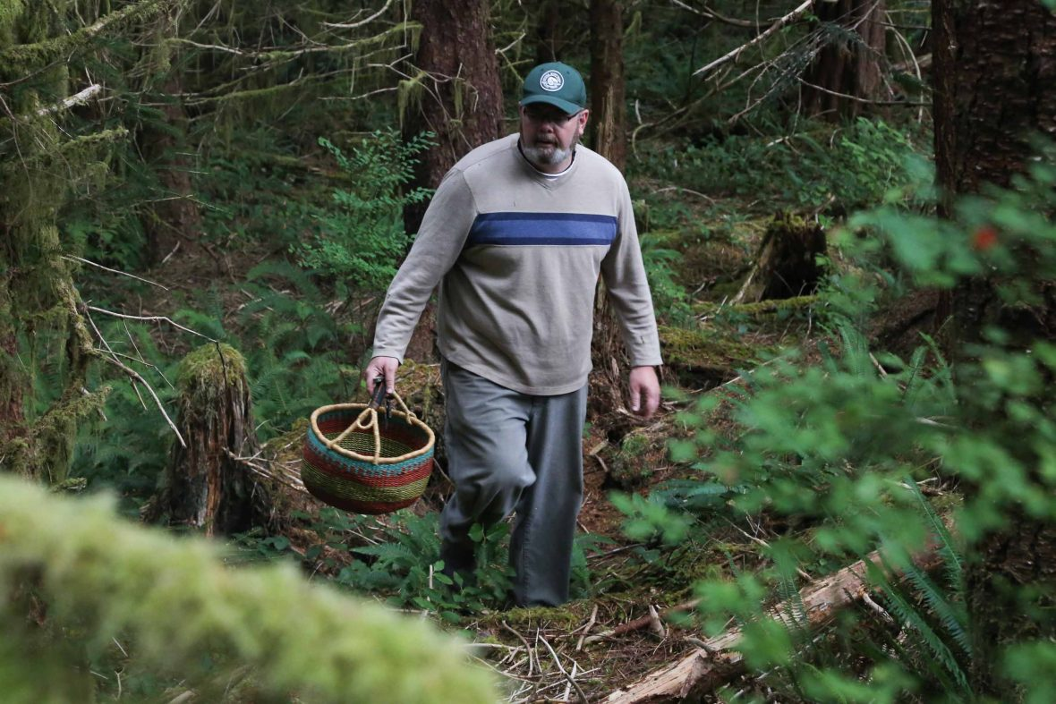 Ian Riddick, chef and owner of Heartwood Kitchen, strides through the forest on the hunt for golden chanterelles.