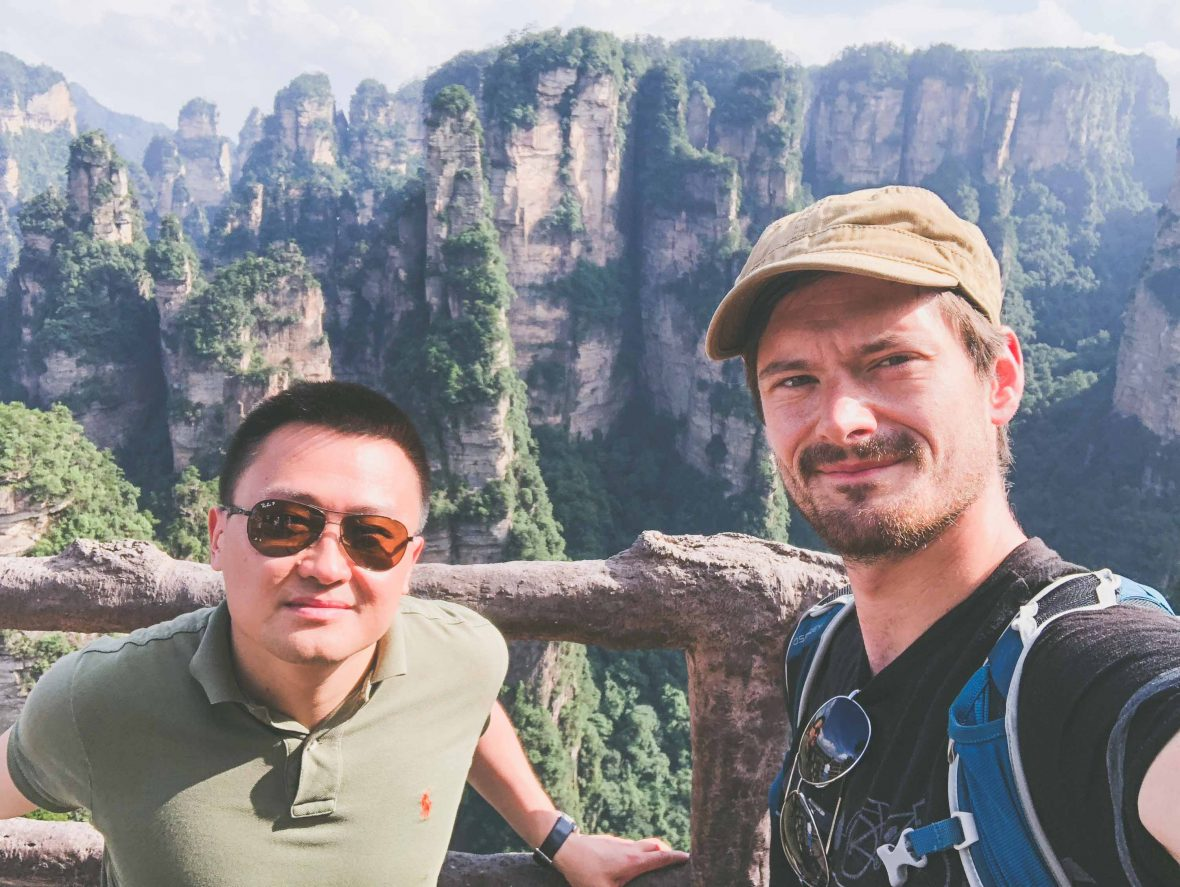 Dennis and Leon in Zhangjiajie, Hunan Province, China.