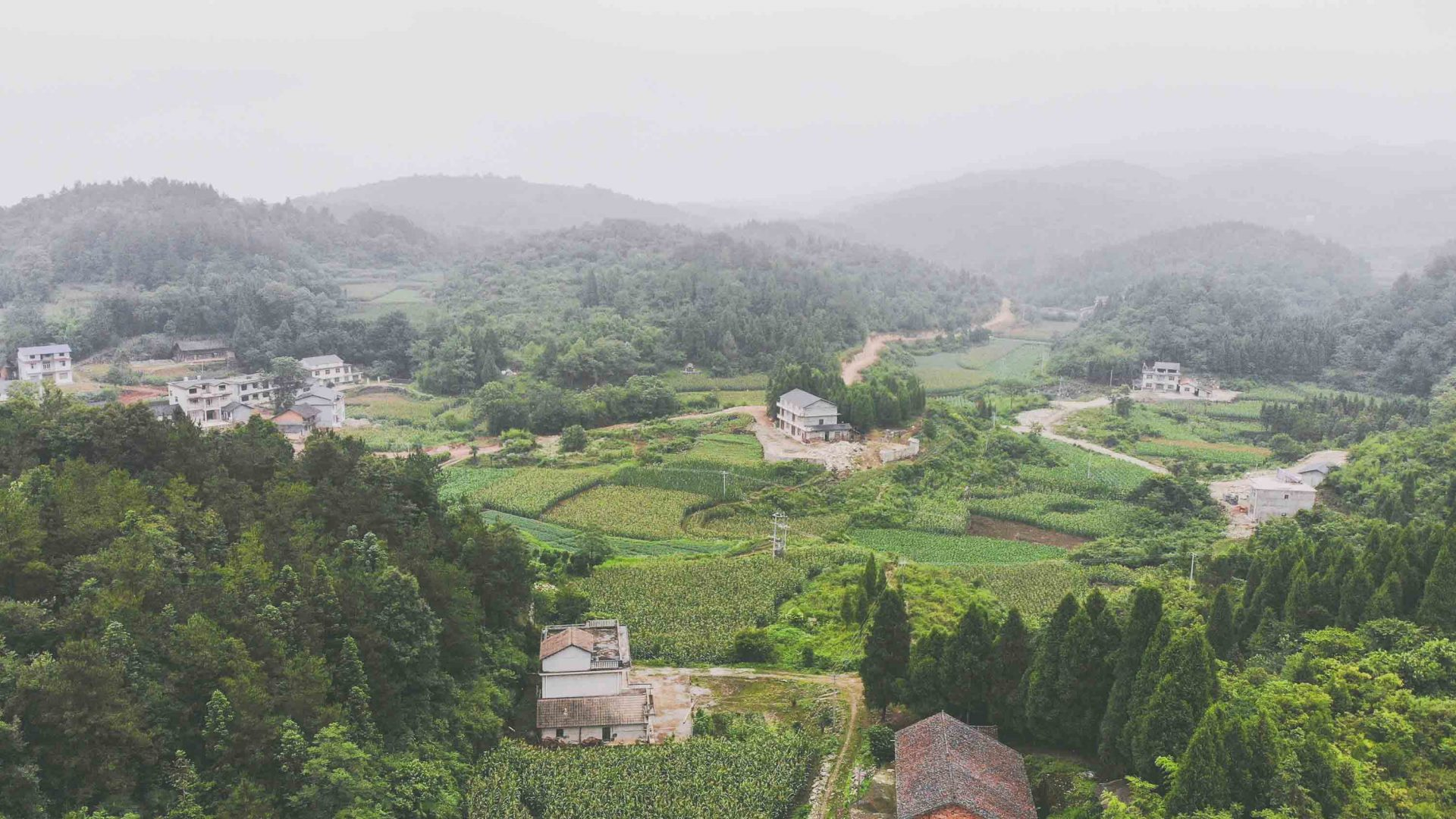 Tujia villages in the mountains near Zhangjiajie, China.