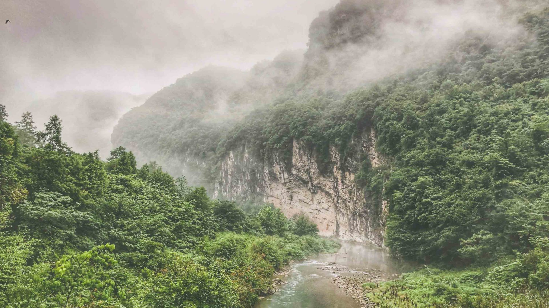 Views along a local river system in the Zhangjiajie countryside in China's Hunan Province.