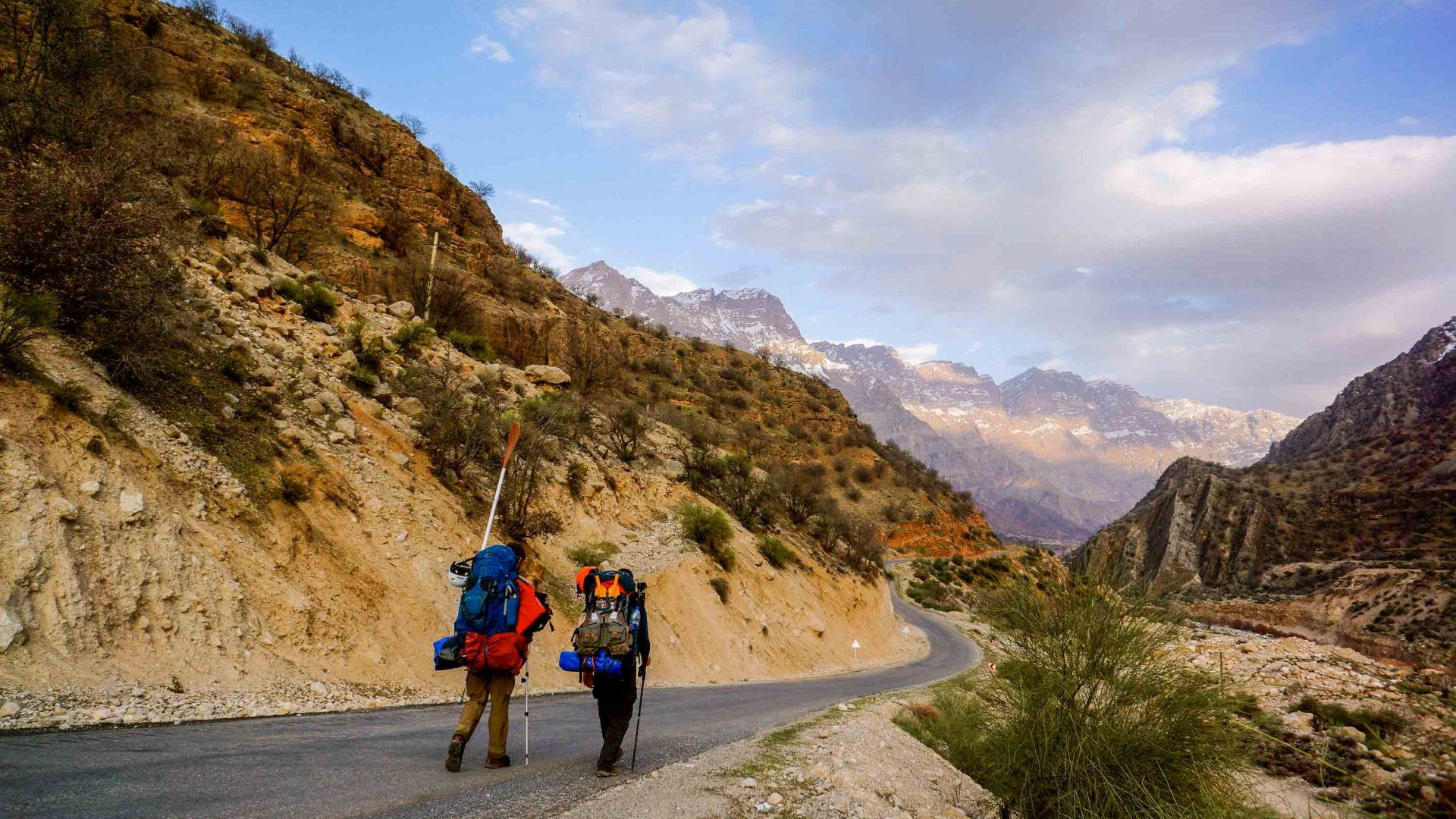 Leon and Tom walk through the mountains, following the river Karun in Iran.
