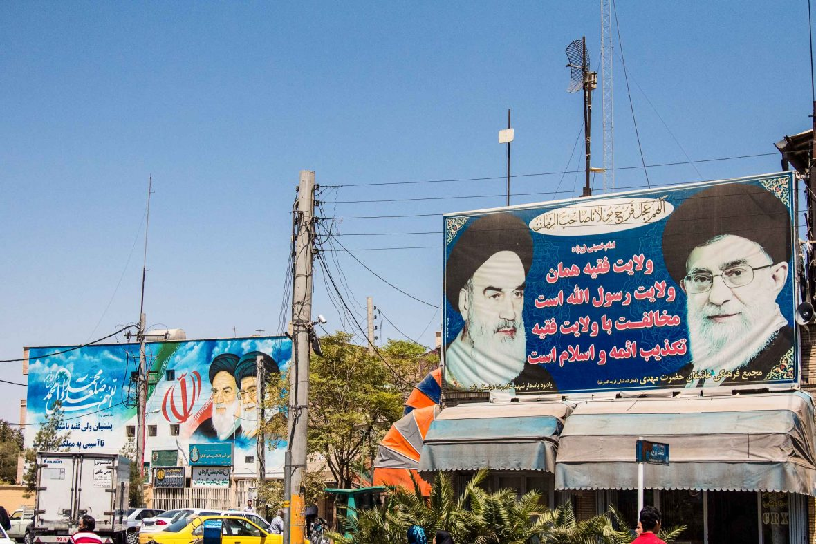 Billboards along the streets of Kashan show propaganda for the two Supreme leaders of the Islamic Republic of Iran, Sayyed Ali Hosseini Khamenei and Ruhollah Khomeini.