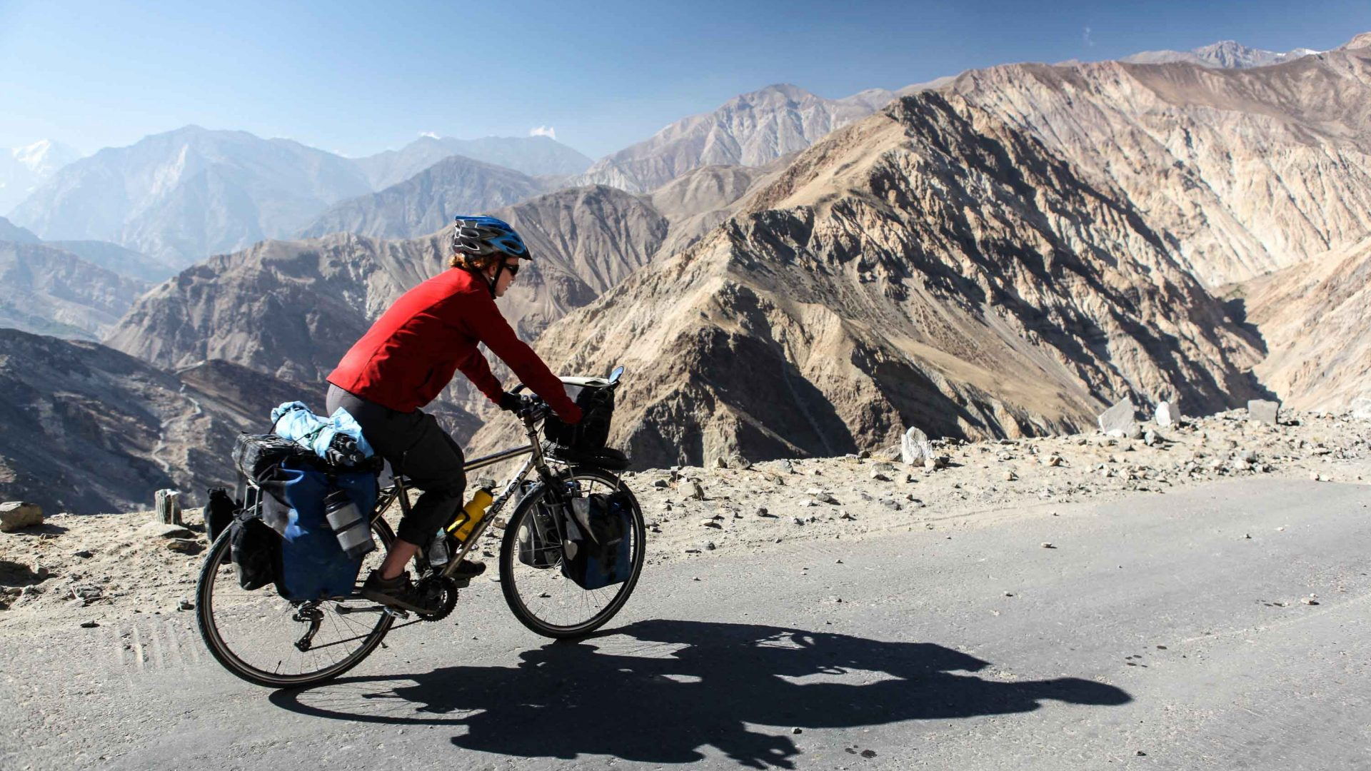 Cycling in the Himalayas.