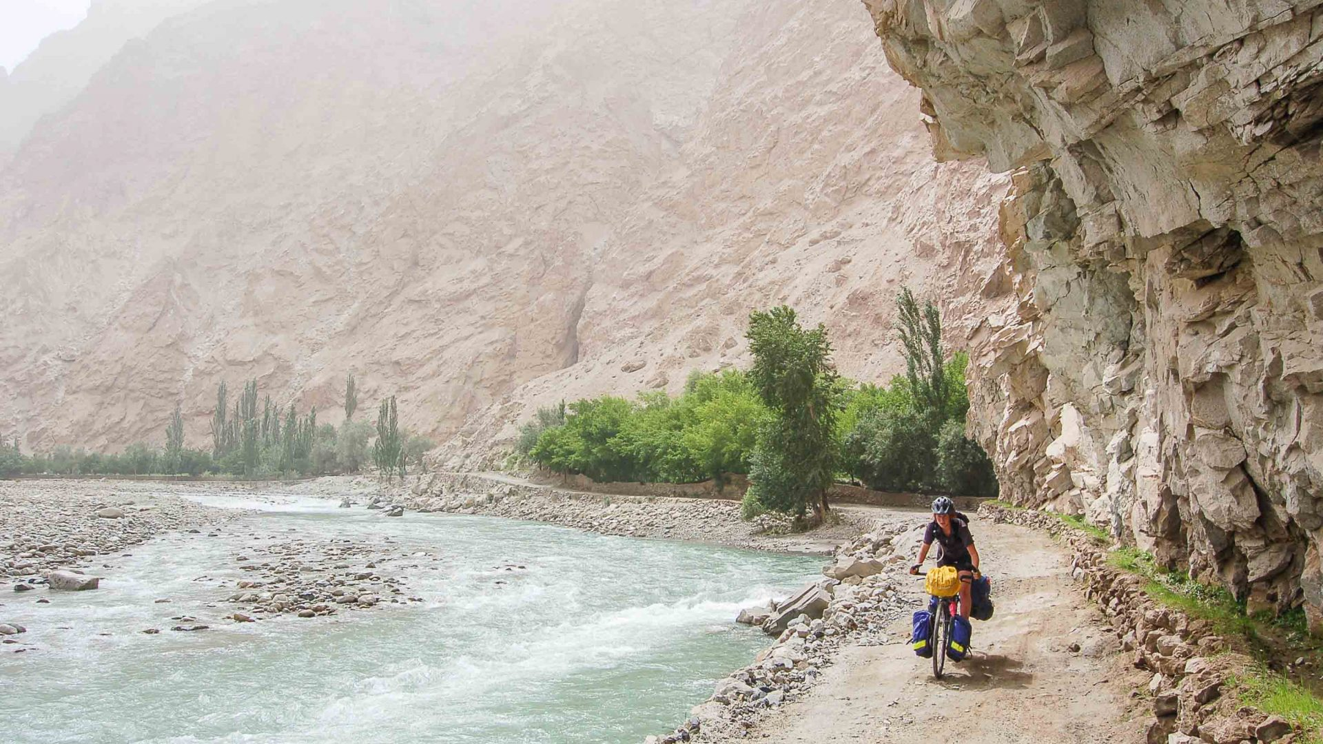 Melissa Yule cycling the Pamirs.