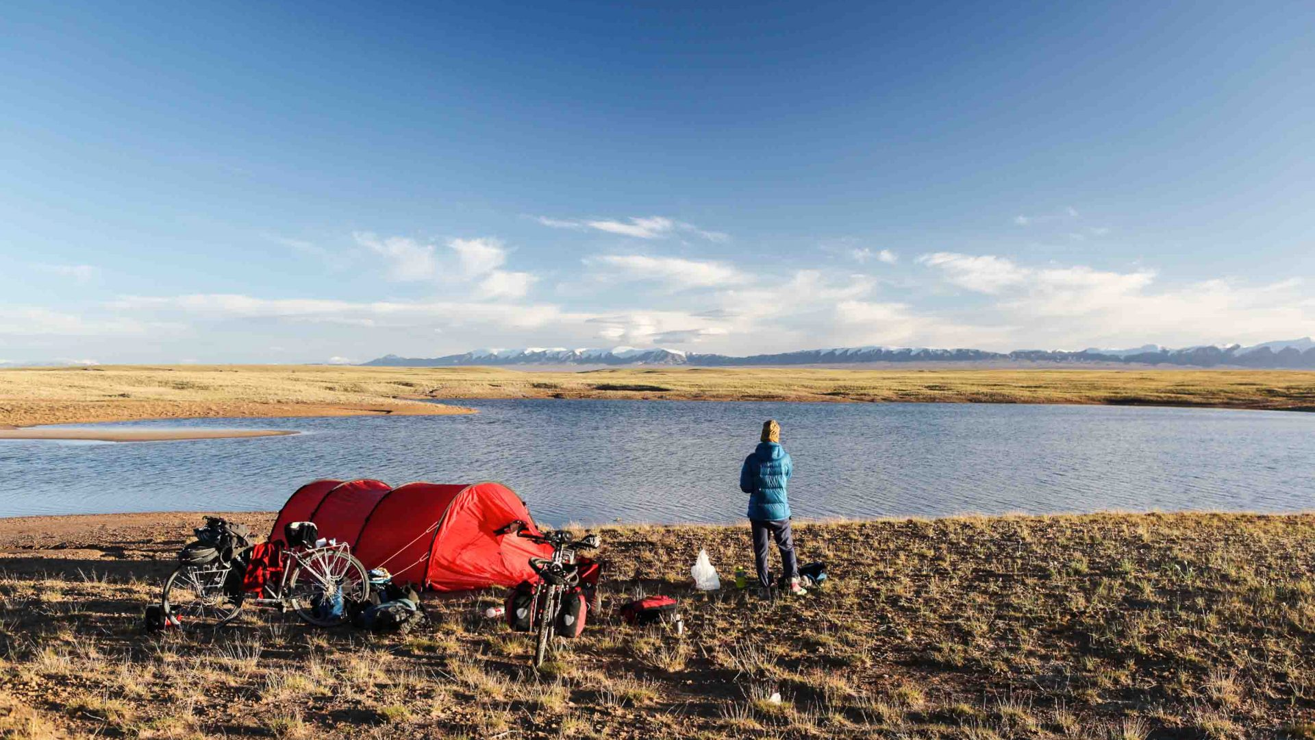 Camping with bikes on the Tibetan Plateau, China.