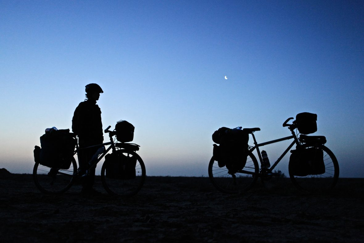 Biking in Uzbekistan at night.