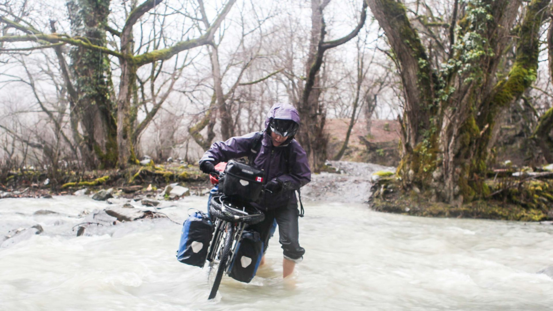A treacherous bike river crossing in Azerbaijan.