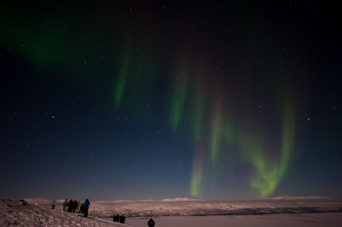 The northern lights in Swedish Lapland.