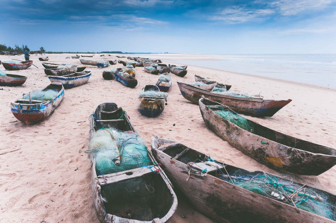 Dugout canoes at a Mozambique fishing village.