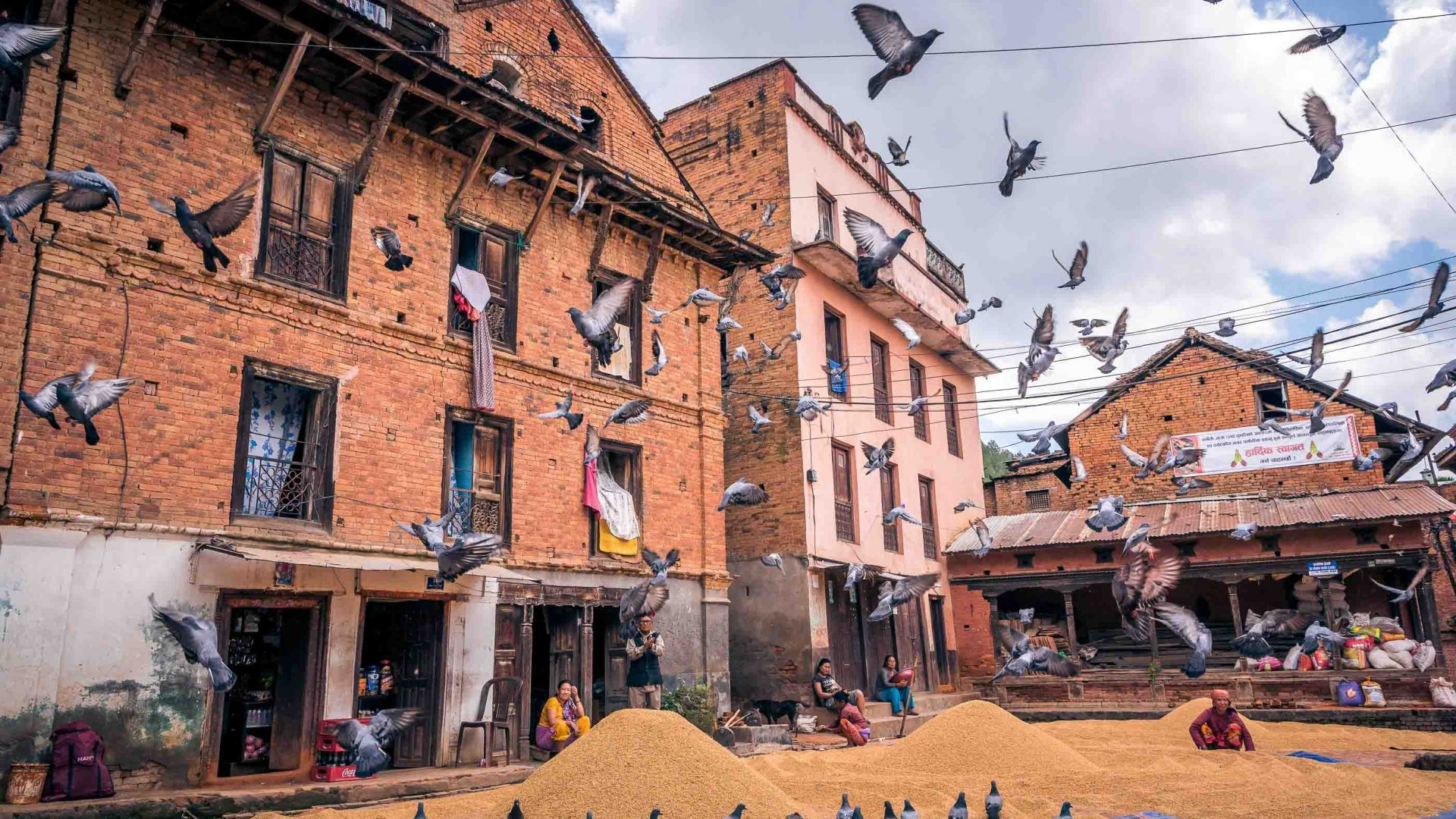 Birds fly in Panauti, Nepal.