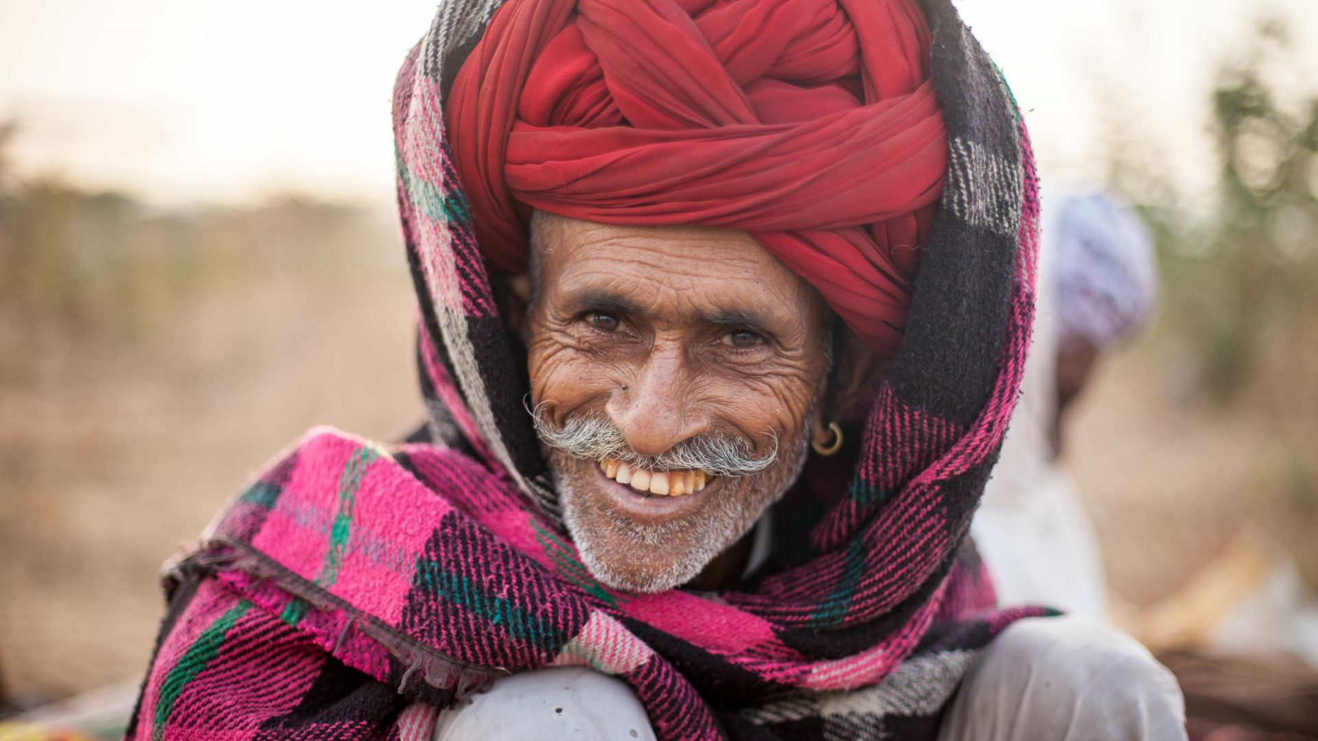 A portrait of a herder at Pushkar Camel Fair.