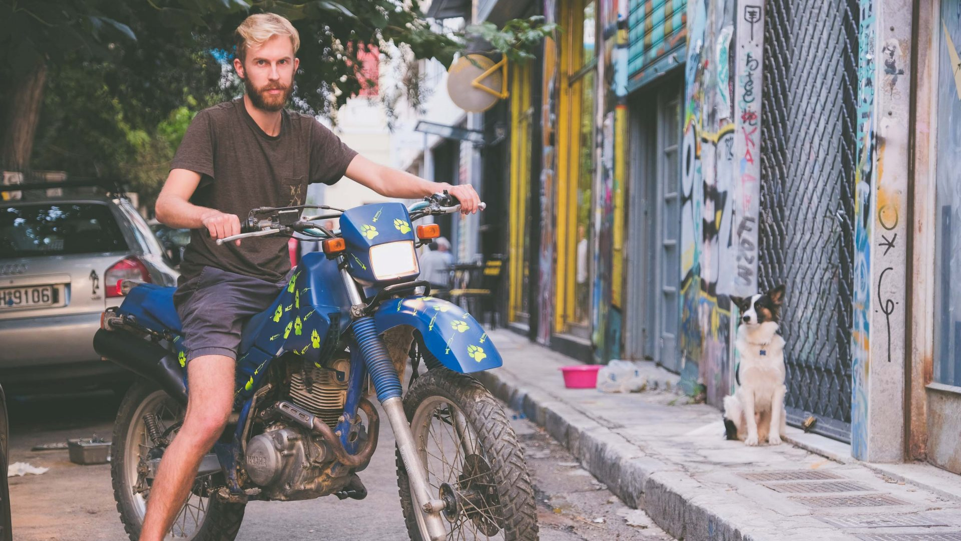 Writer Alex King on his newly purchased motorcycle.