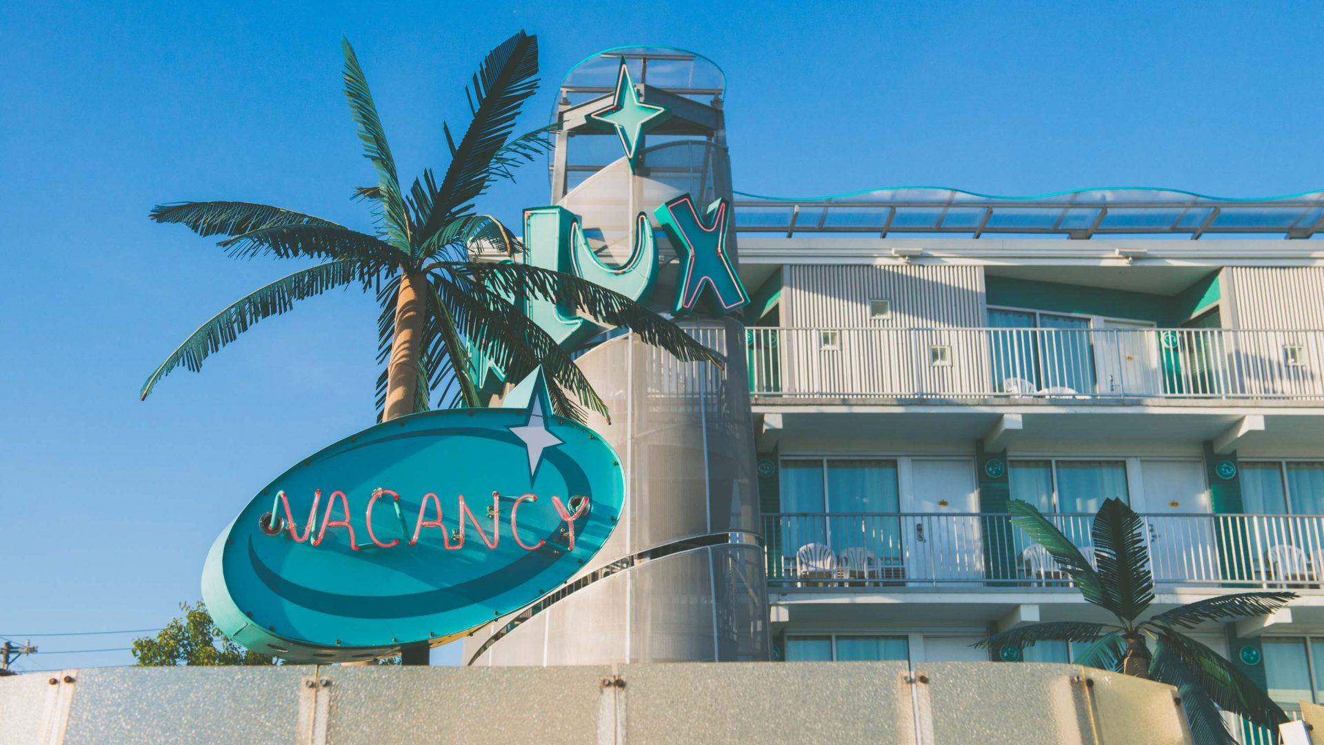 Fake palm trees are a staple for many of the Wildwood motels.