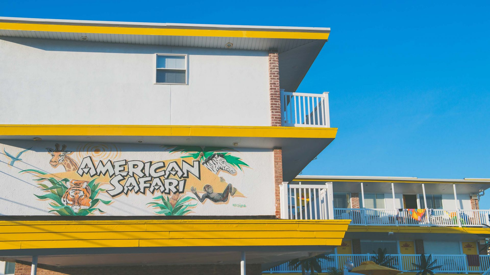 American Safari, one of the motels in Wildwood, New Jersey.