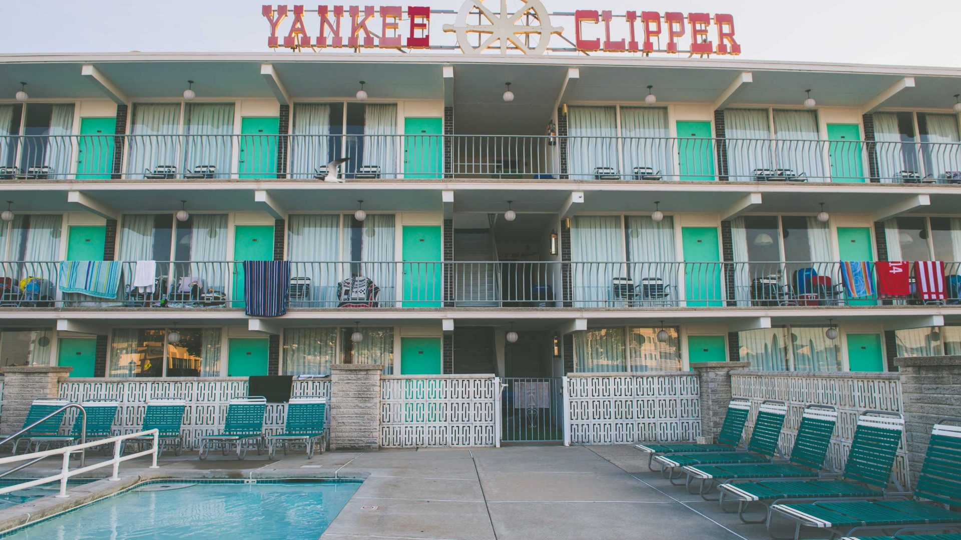 Yankee Clipper, one of the motels in Wildwood, New Jersey.
