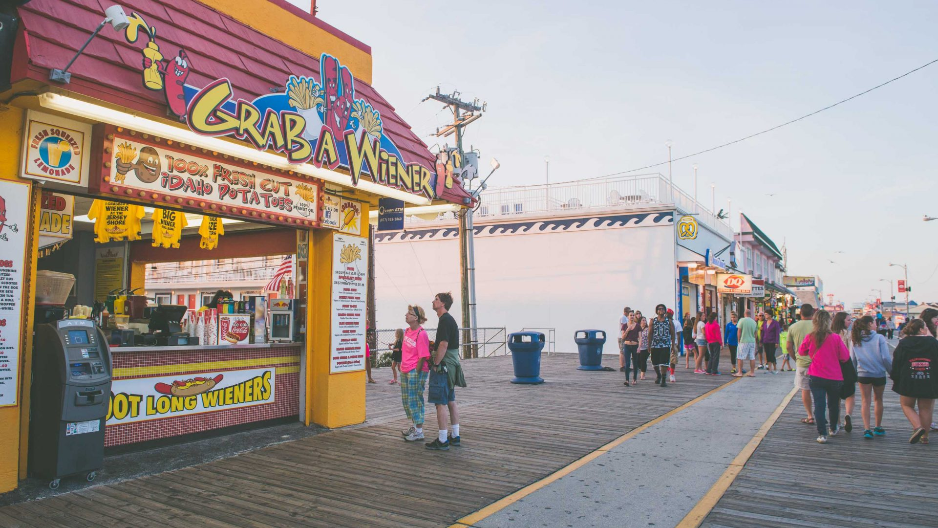 'Grab a wiener', one of many boardwalk cafes, where you can also buy T-shirts with slogans such as 'Big wiener, small bun'.