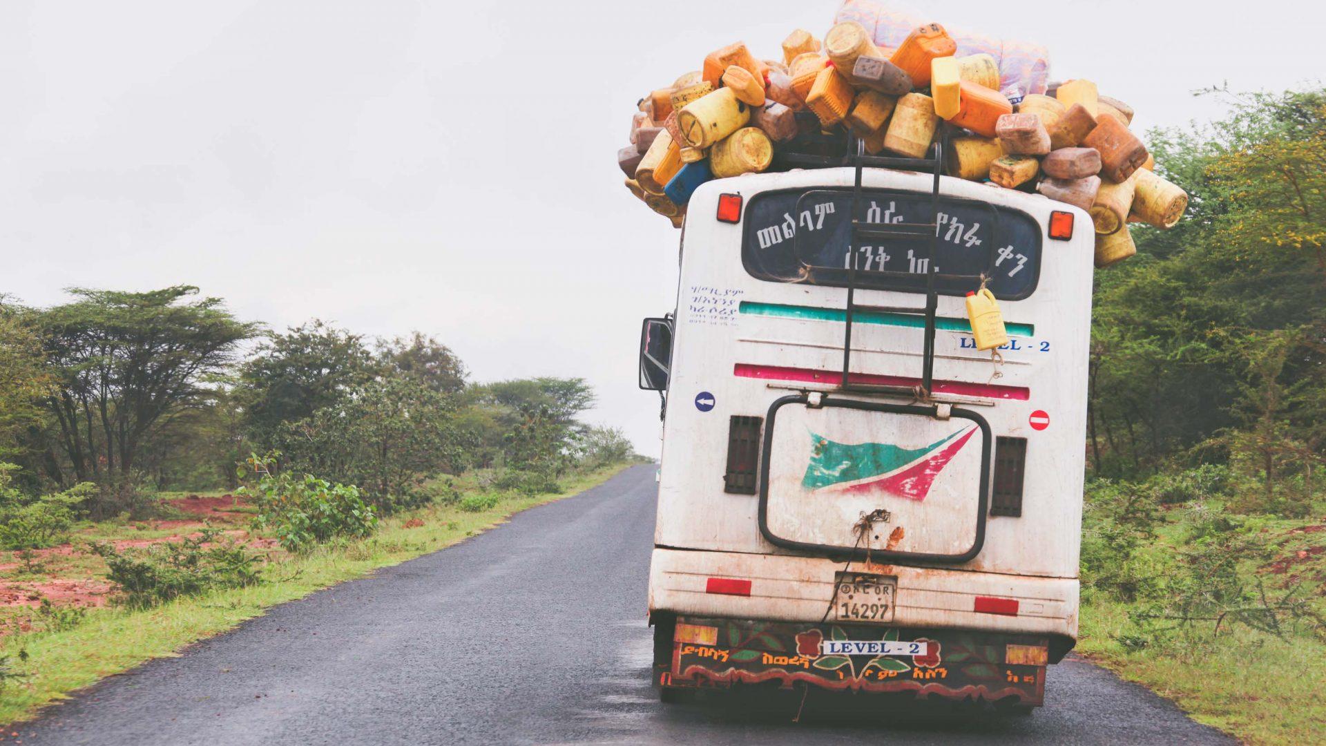 A laden bus in the Omo Valley, Ethiopia.