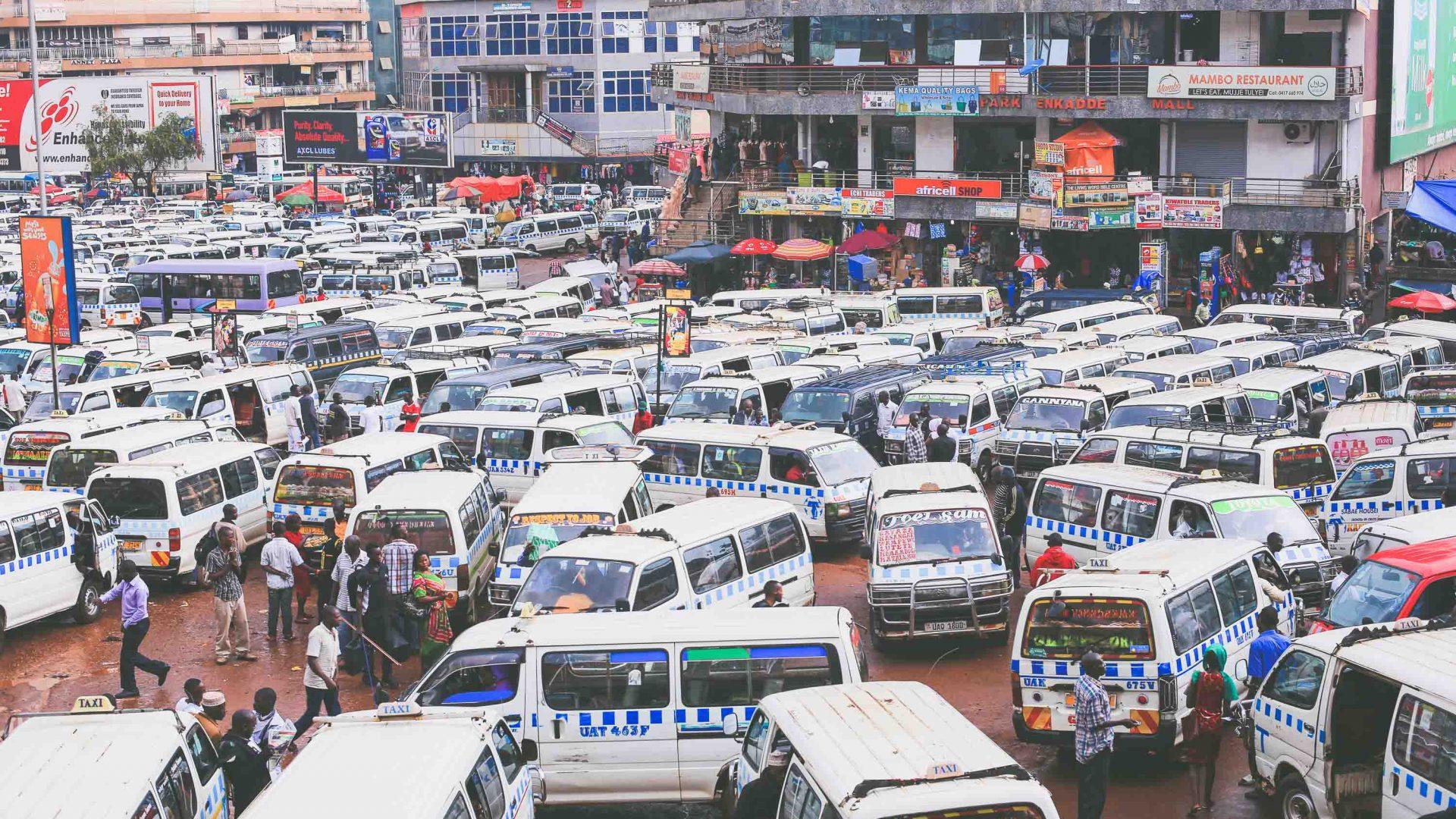 Matatu (mini vans) in Kampala, Uganda.