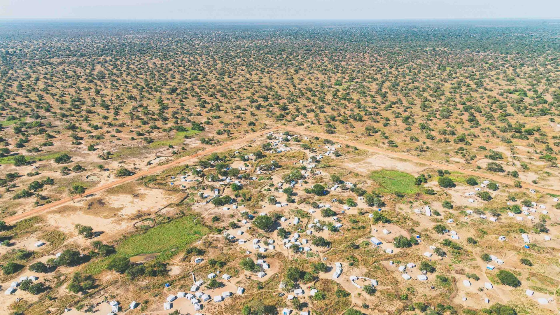 Aerial view over a Sudanese refugee camp.