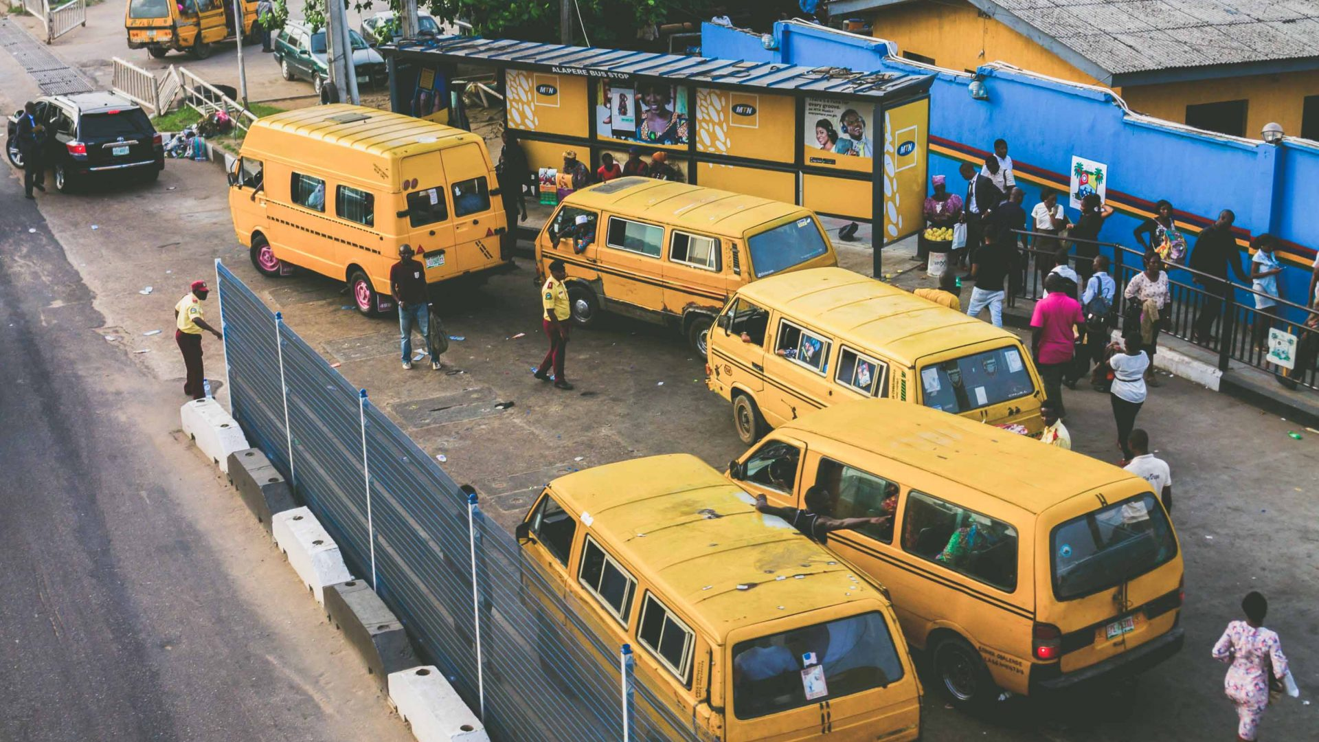 Mini vans in Lagos Nigeria.