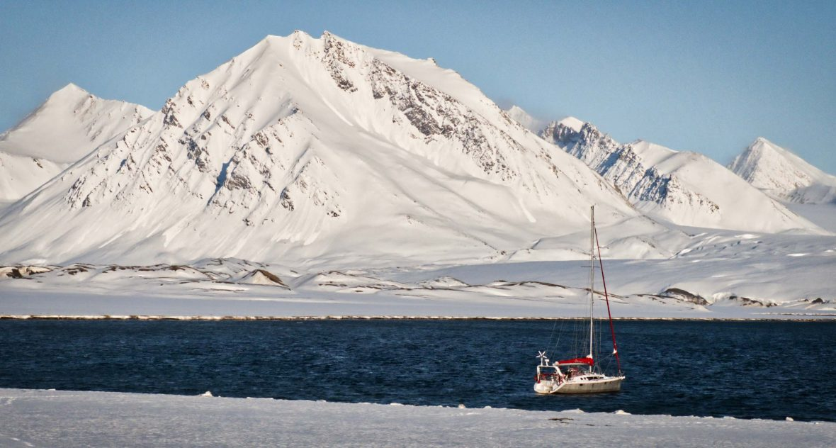 Leon's boat in English Bay on Spitsbergen, the largest and only permanently populated island of the Svalbard archipelago in northern Norway.
