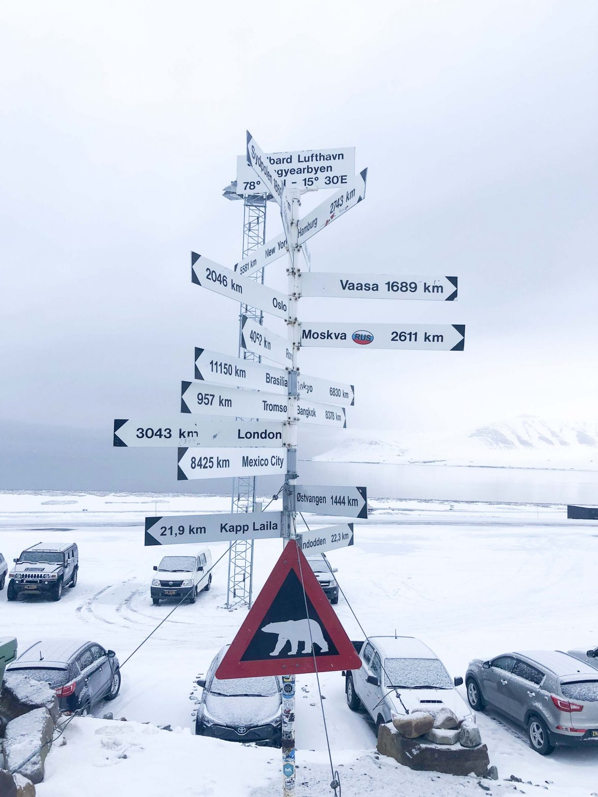 Longyearbyen airport in the Svalbard archipelago has a polar bear warning plus a host of signs showing how far it is from the rest of the world.