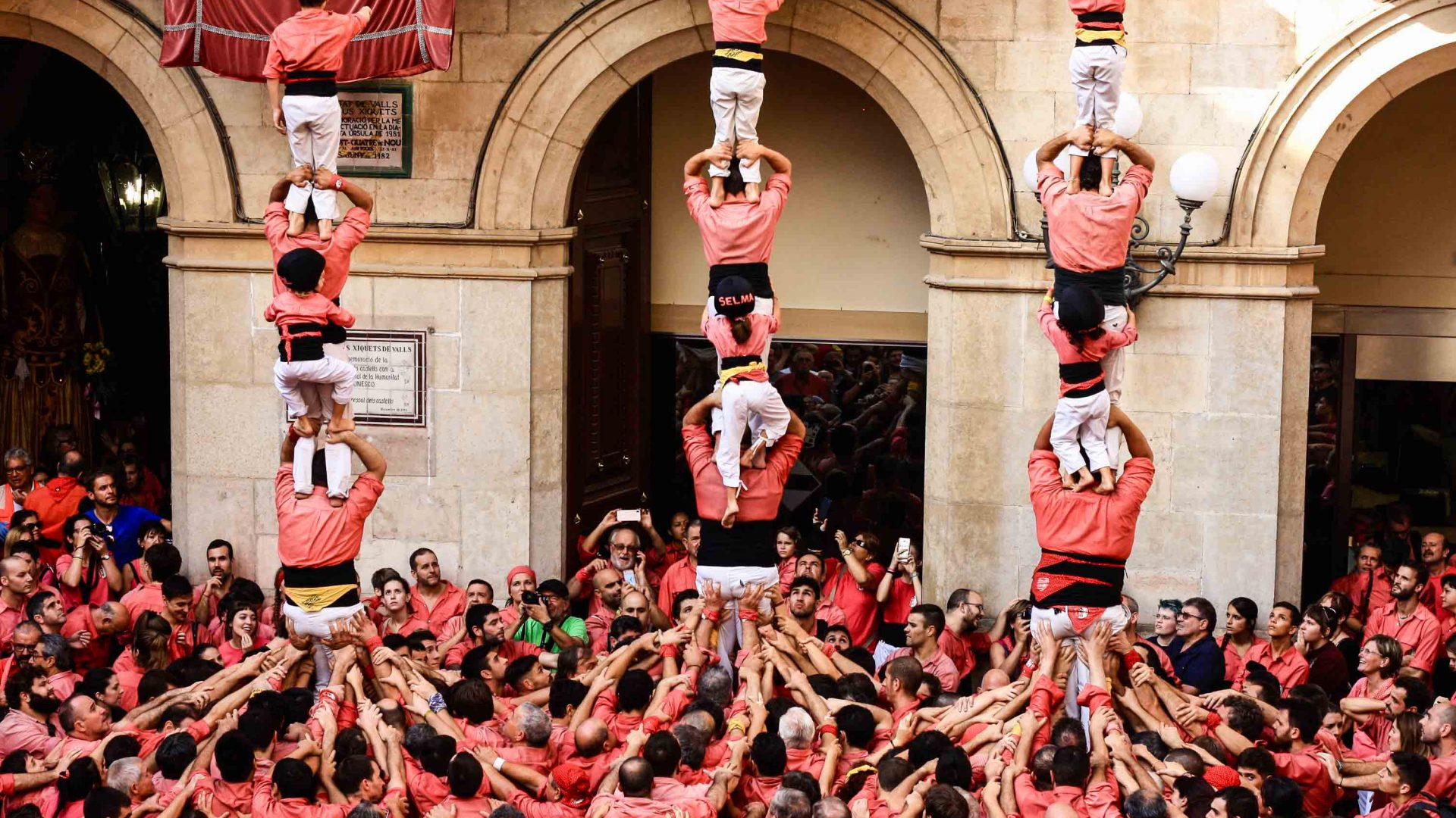 The Colla Joves team of castellers (human towers) in the tiny Catalan city of Valls.