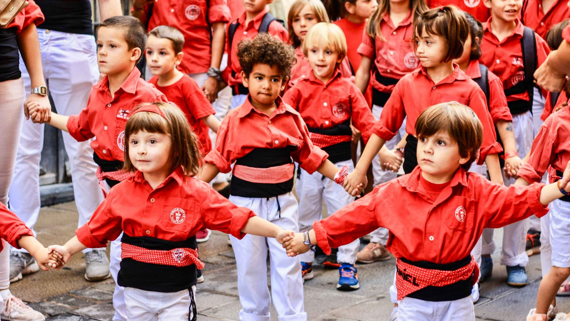 Young castellers in the Catalan town of Valls.