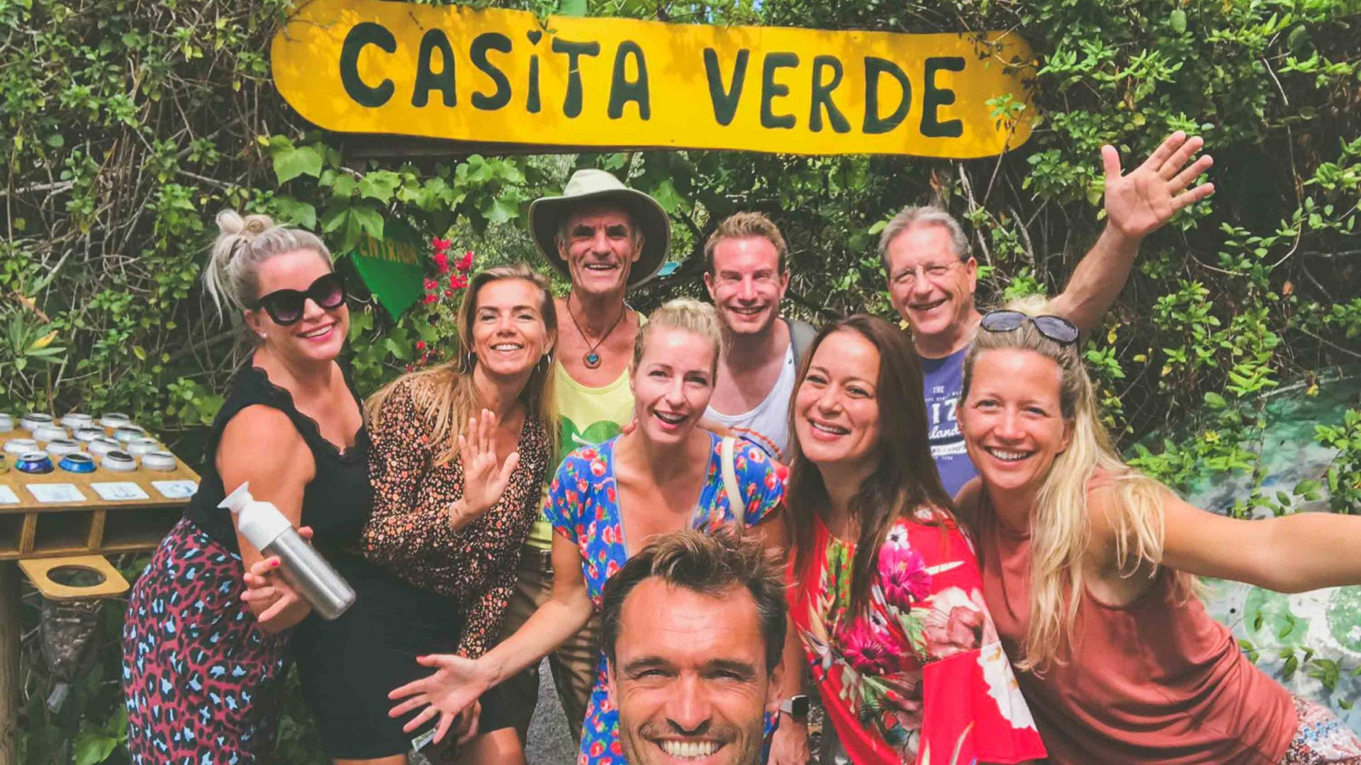 Volunteers at Casita Verde in Ibiza. Chris Dews, coordinator of the Green Heart Movement stands in the back row, wearing a hat.