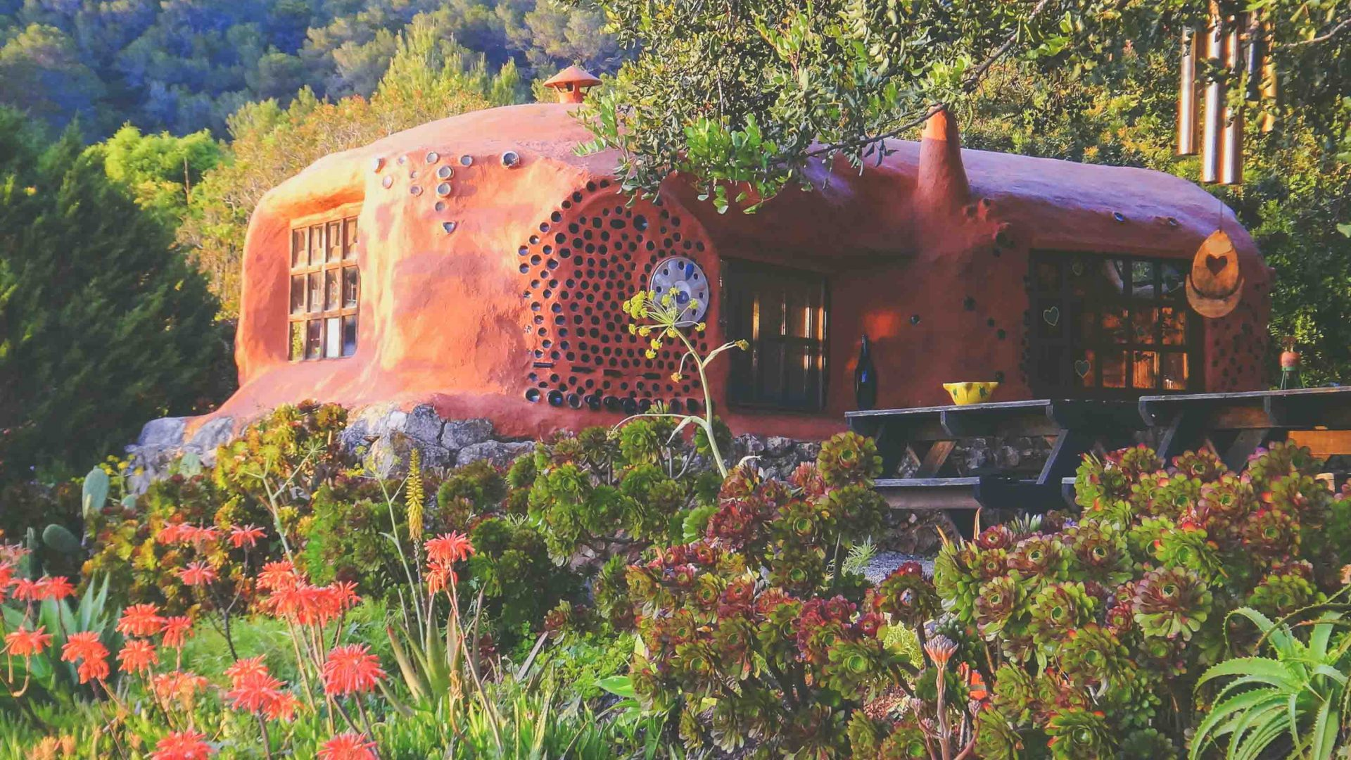 Bottle house, constructed with with recycled bottles at Casita Verde.