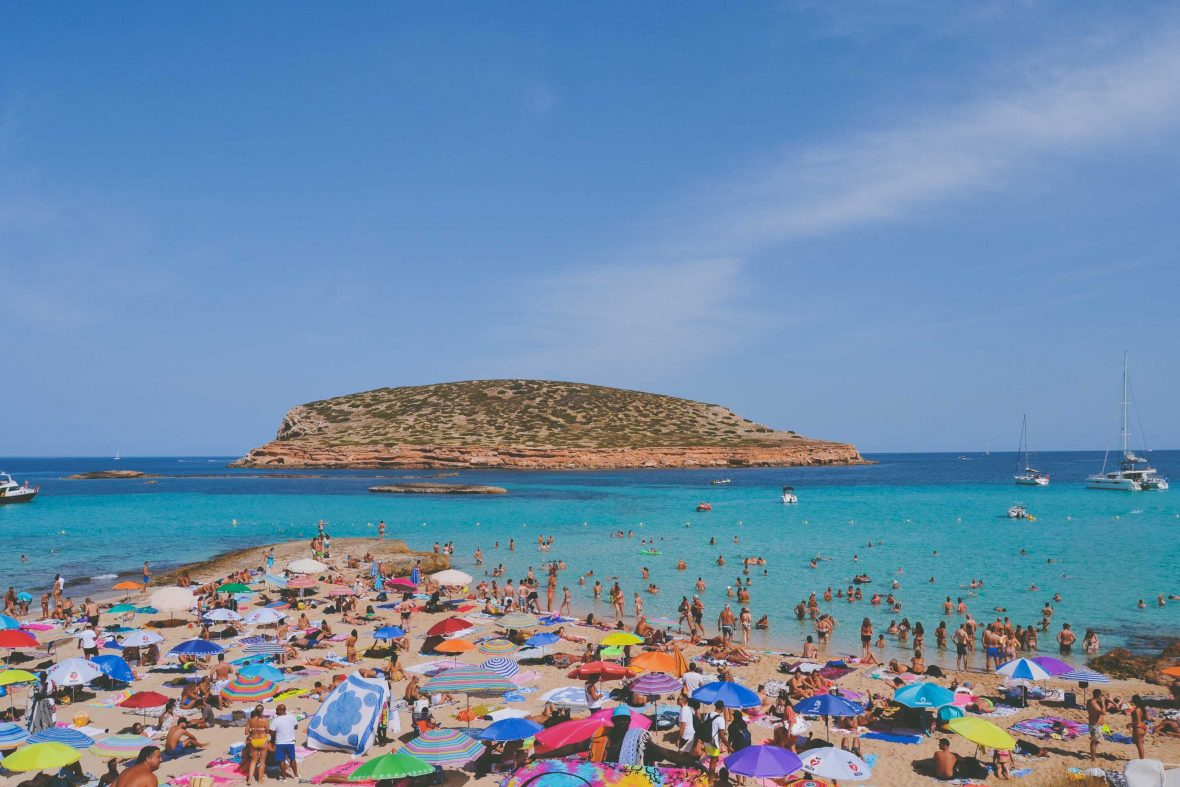 Platge do Compte (Compte Beach) in Ibiza becomes packed with tourists over summer.