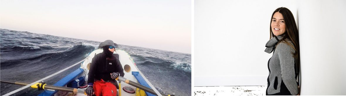 Left: Lia Ditton ocean rowing; Right: Lia Ditton.