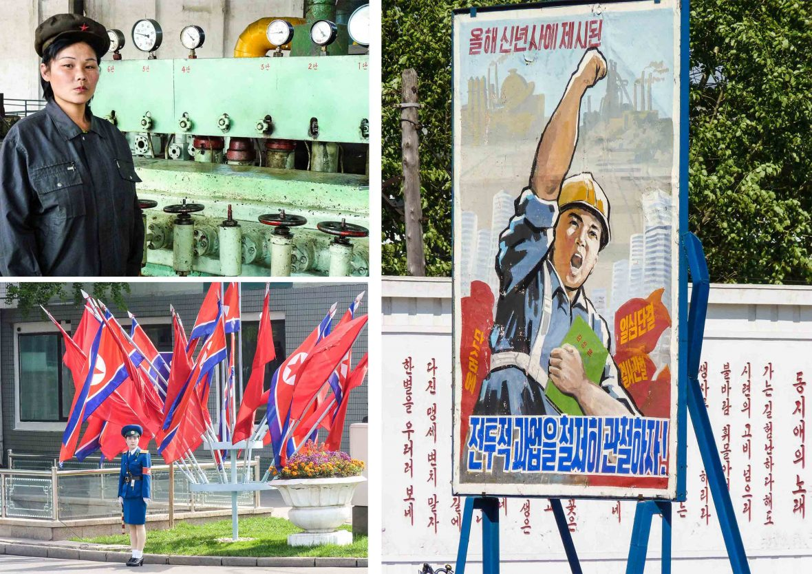 Workers in North Korea.
