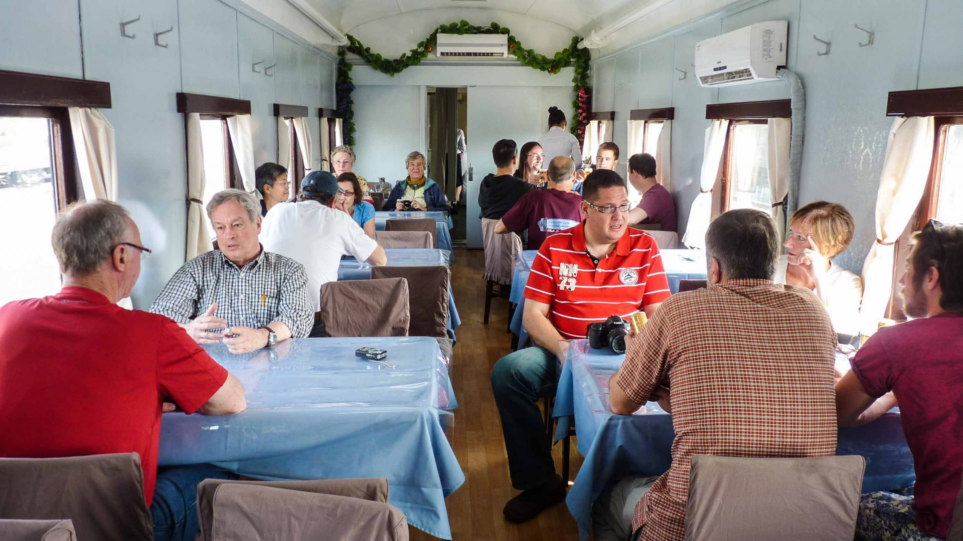 The dining carriage on the tourist train.