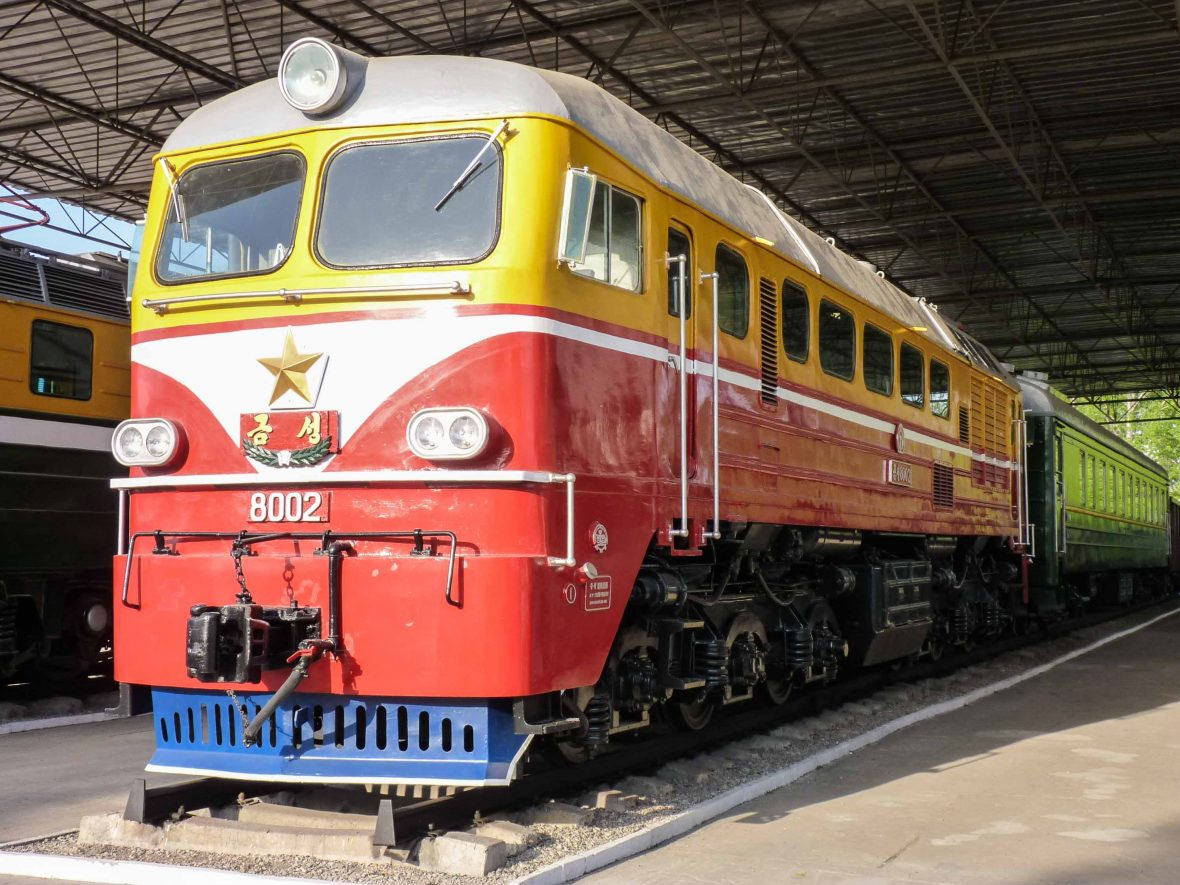 A historic train at Wonsan's old steam train museum.