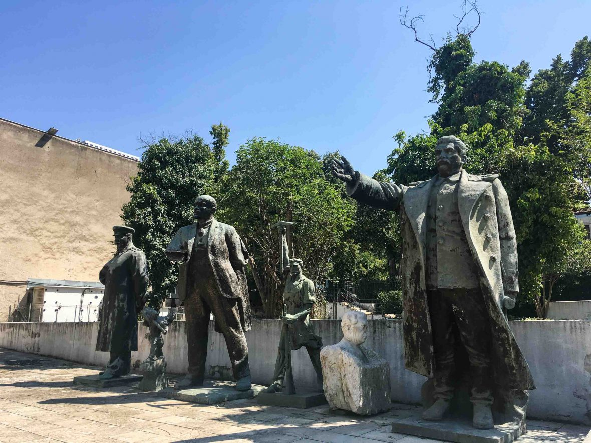 Lenin, Stalin and Stalin stand strong in Tirana, Albania.