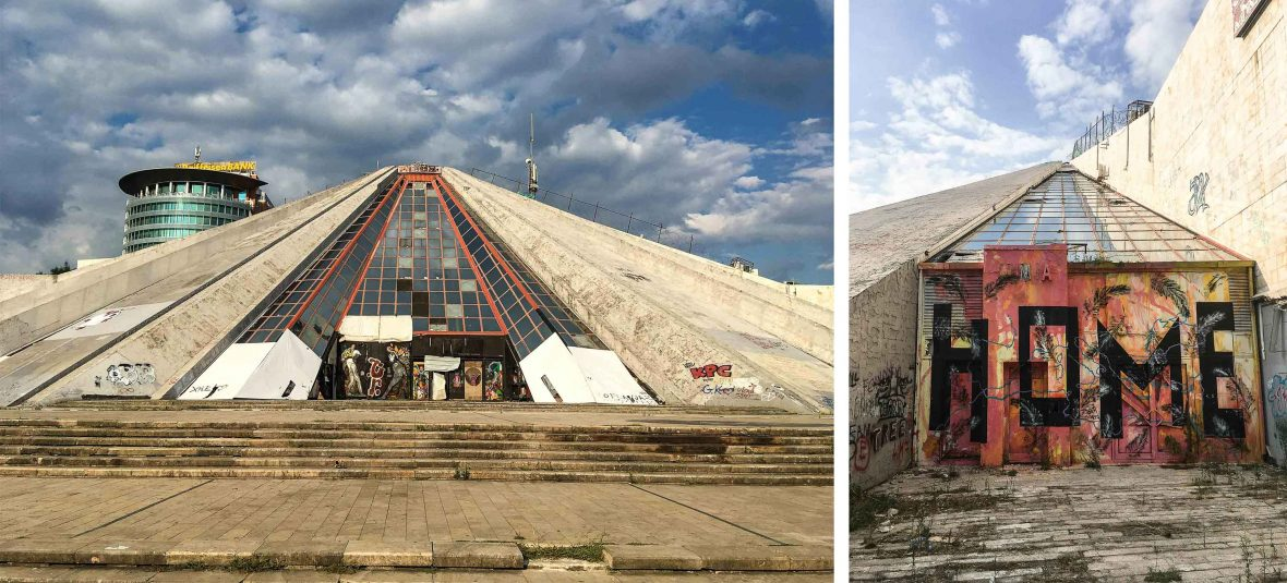 The Pyramid monument in Tirana, Albania.
