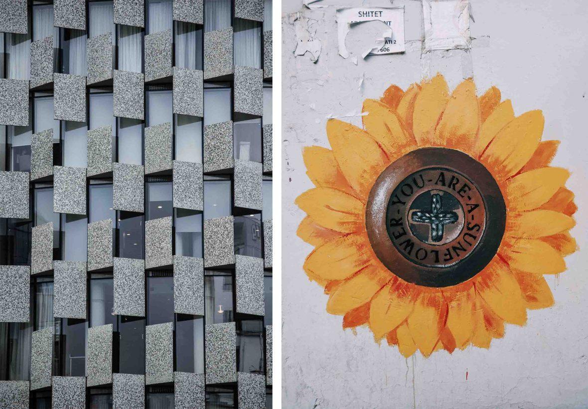 Contrasting building walls in Tirana, Albania.