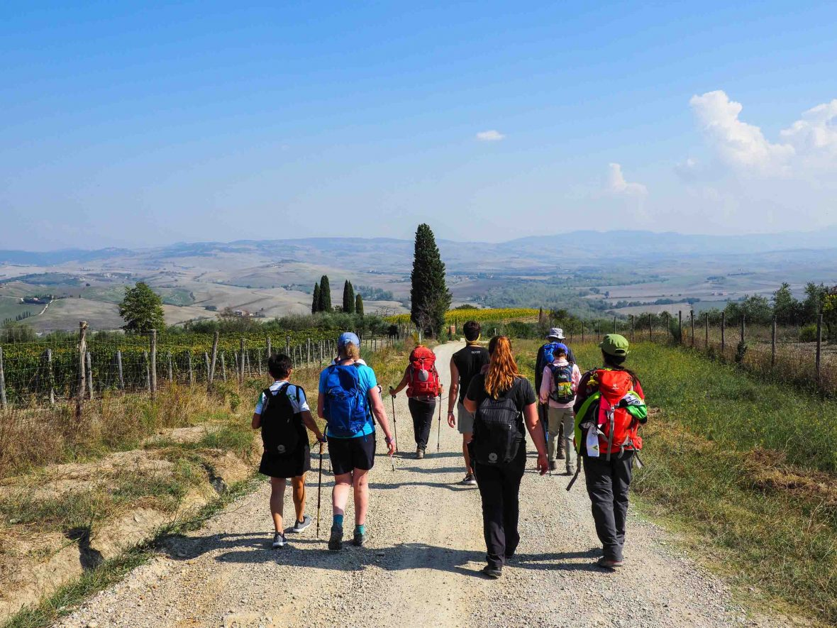 Hikers on the Via Francigena, one of Europe's most spectacular hiking trails.