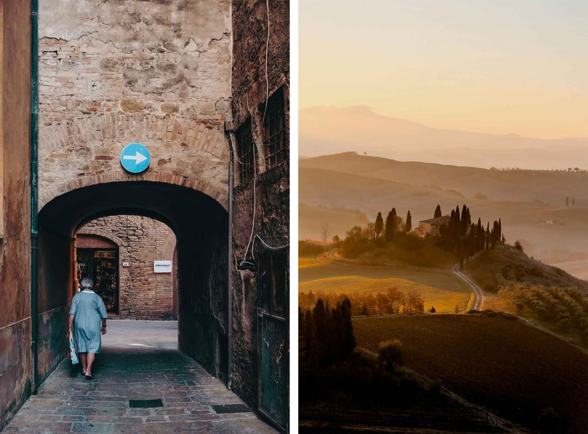 Classic Tuscan scenes, from atmospheric streetlife to its unforgettable hillscapes.