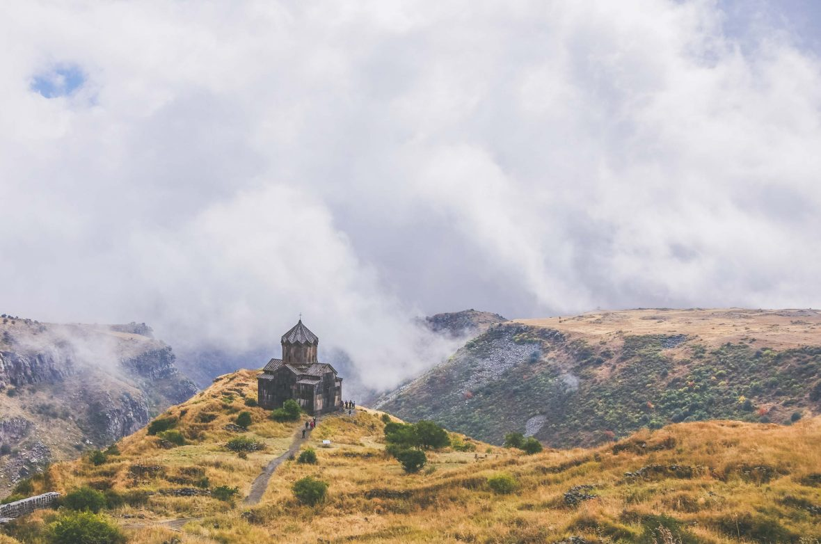 The medieval church of Amberd St. Astvatsatsin (Holy Mother of God) on the slopes of Aragats mountain, Armenia's highest peak.