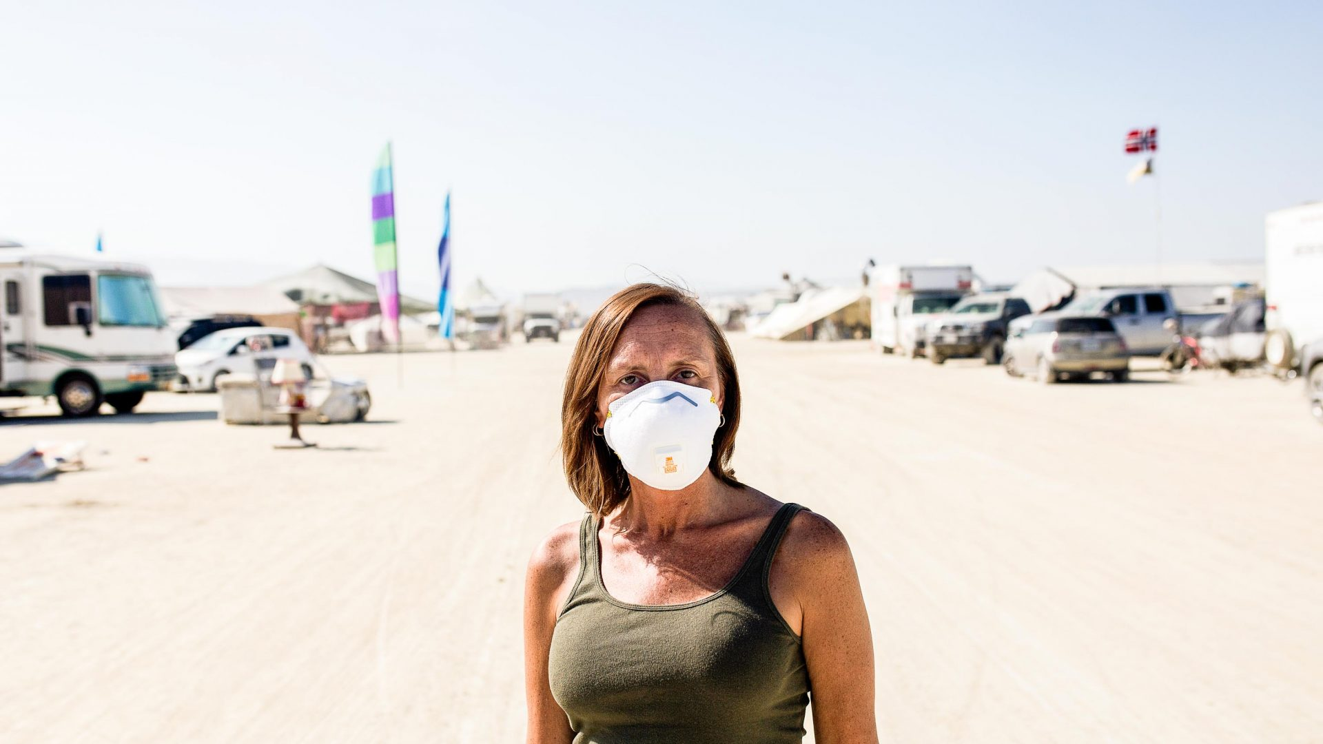 Lung cancer patient, Shannon Quiroz , wears as mask at Burning Man.