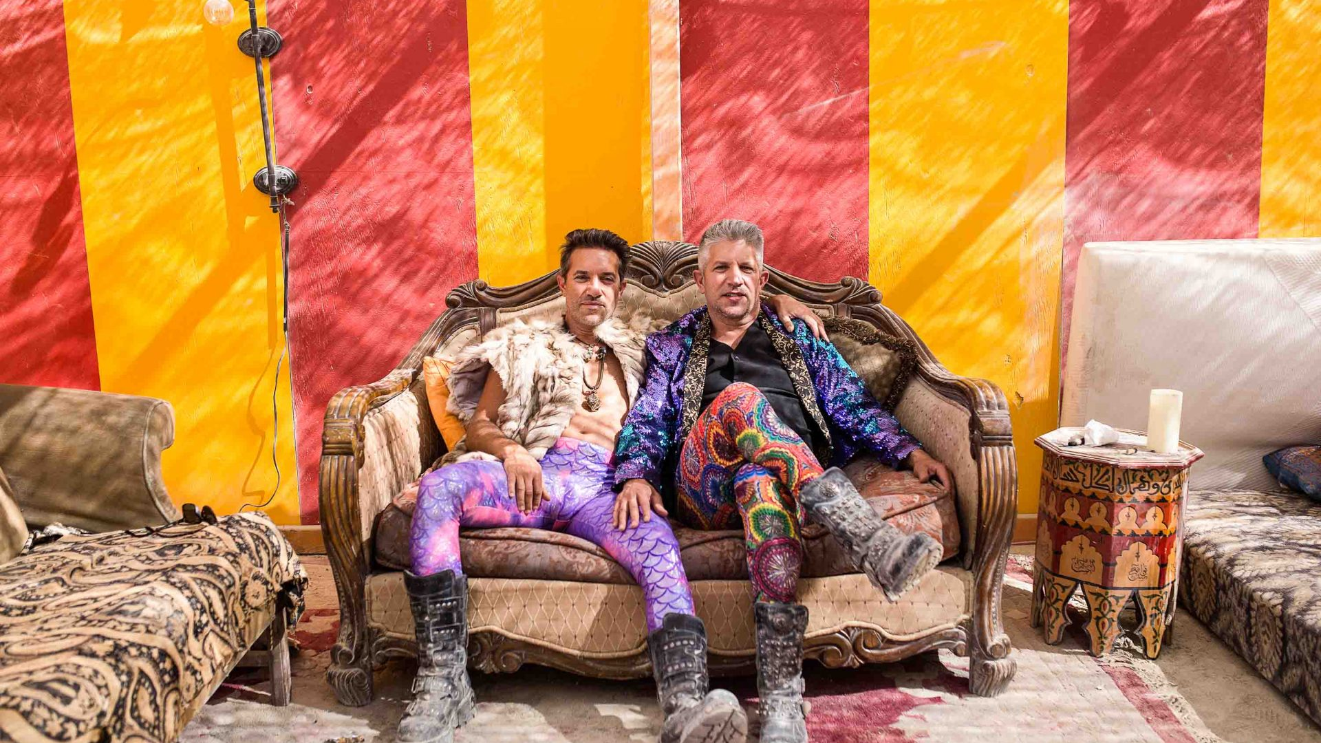 Rowan and Gordon Farber at their camp at Burning Man.