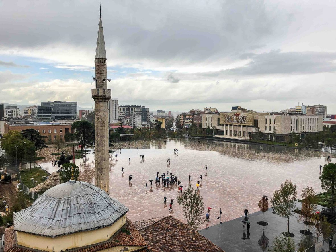 Rain falls in Tirana, the capital of Albania.