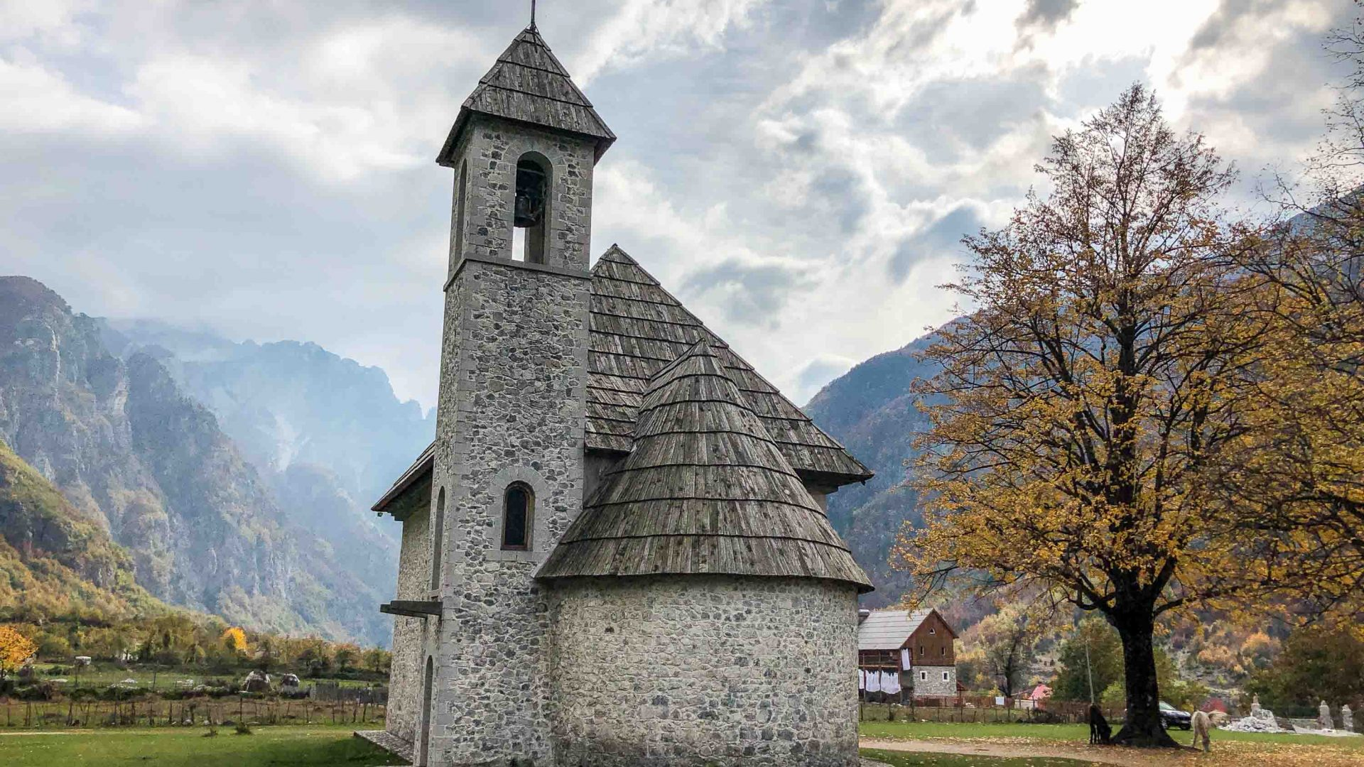 The striking design of the church in Theth, Albania, one of the village's major landmarks.